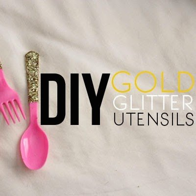DIY Gold Glitter Utensils