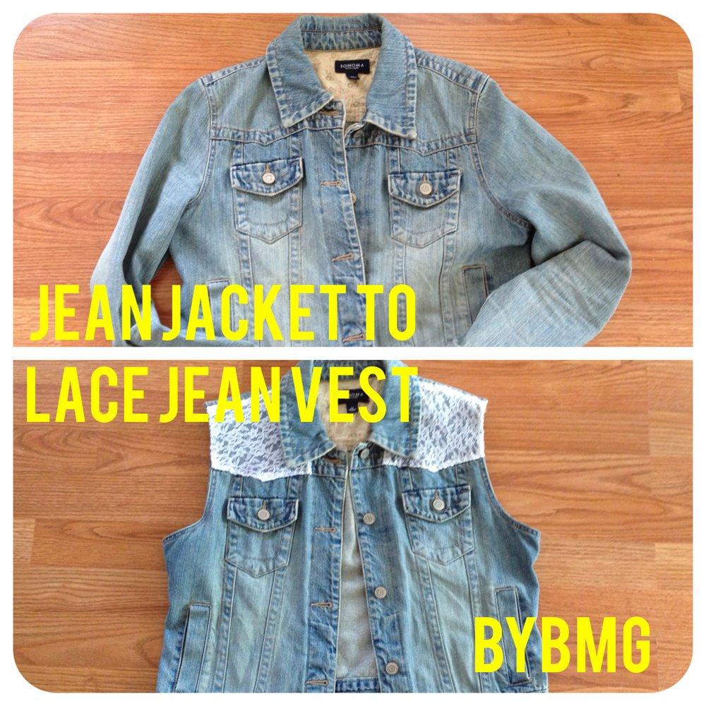 DIY: Jean Jacket to Lace Jean Vest