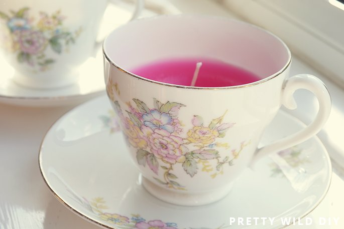 DIY: Colored Teacup Candle