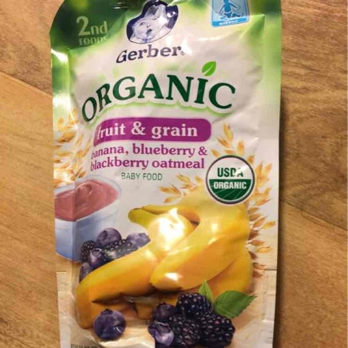 Gerber 2nd Foods Organic Baby Food Fruit & Grain Banana, Blueberry & Blackberry Oatmeal uploaded by Amanda M.
