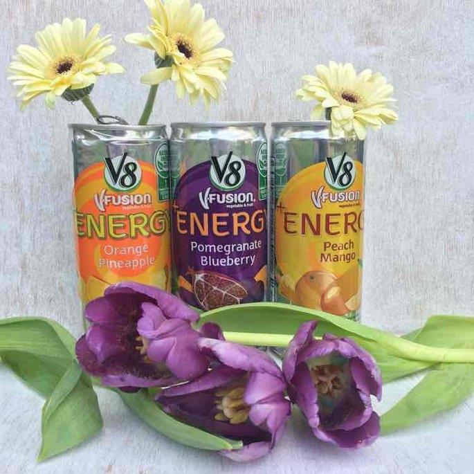 V8 V-Fusion® +Energy Pomegranate Blueberry/Peach Mango Vegetable & Fruit Juice 18-8 fl.oz. Cans uploaded by Kristina W.