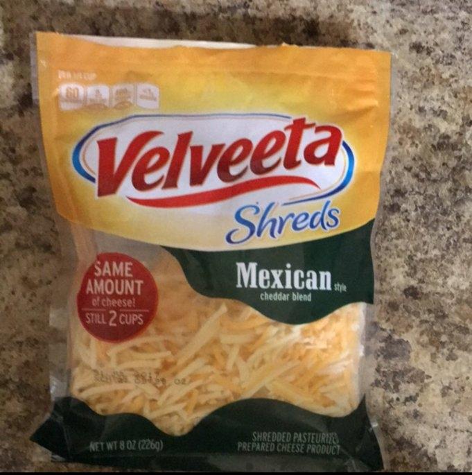 Velveeta Shreds Mexican Style Cheddar Cheese Blend 8 oz. ZIP-PAK® uploaded by Pamela H.