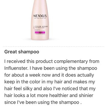 Photo uploaded to NEXXUS® COLOR ASSURE SHAMPOO FOR COLORED HAIR by elizabeth e.