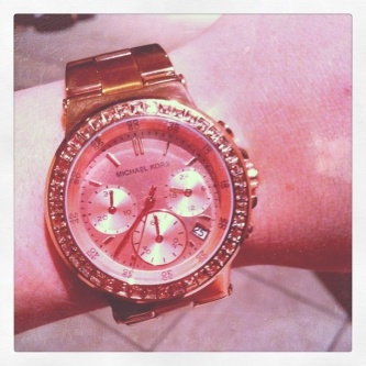 Michael Kors Rose Golden Stainless Steel and Tortoise Acetate Watch uploaded by Jessica W.