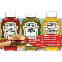 Heinz Tomato Ketchup/Yellow Mustard/Sweet Relish Picnic Pack 3 Pk Sleeve uploaded by Tami A.