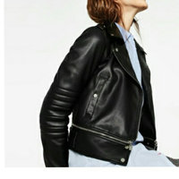 black jacket Jou Jou Faux-Leather Band-Collar Moto Jacket uploaded by Raja S.
