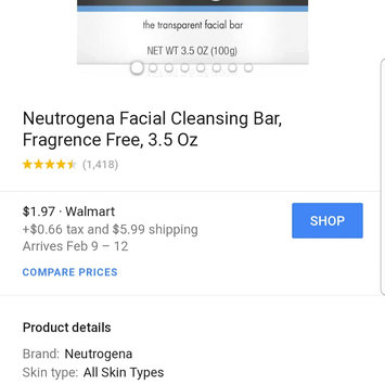 Photo of Neutrogena® Fragrance Free Facial Cleansing Bar uploaded by Latrell C.