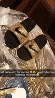 black Nike Girls' Kawa Slide Sandals from Finish Line uploaded by Melissa G.