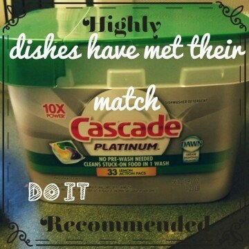 Cascade® Platinum™ ActionPacs™ With The Power Of Clorox® Dishwasher Detergent Fresh Scent 1.46 lb. Tub uploaded by Jennifer J.