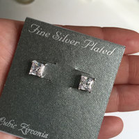 Cubic Zirconia Silver-Plated Solitaire Stud Earrings (White) uploaded by Monica L.