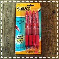 BIC(R) Velocity(R) Retractable Gel Ink Rollerball Pens, Medium Point, 0.7mm, Translucent Red Barrel, Red Ink, Pack Of 4 uploaded by Amy B.