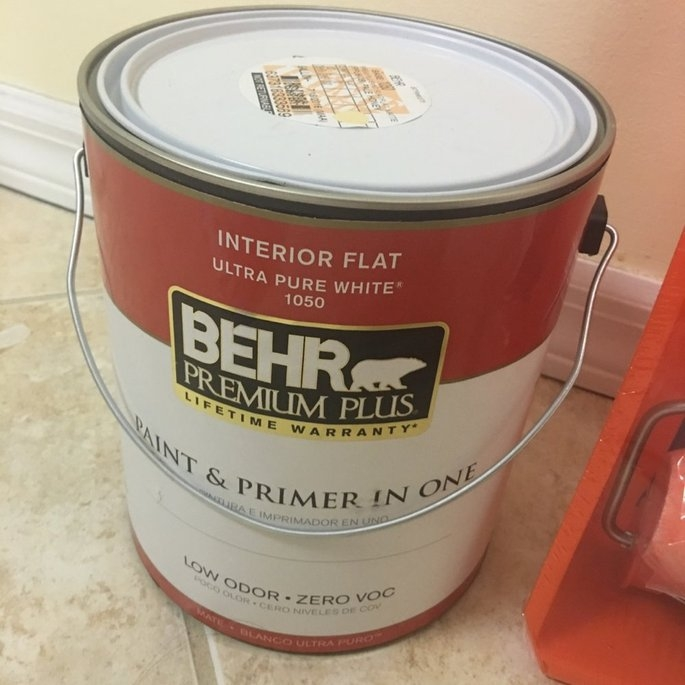 Interior Paint, Exterior Paint & Paint Samples: BEHR Premium Plus Paint 1-gal. Ultra Pure White Flat Zero VOC Interior Paint 105001 uploaded by Valenna P.