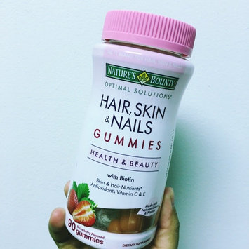 Nature's Bounty Optimal Solutions Hair, Skin & Nails Dietary Supplement Strawberry Flavored Gummies, 90 count uploaded by Karla  I.