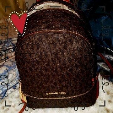 MICHAEL Michael Kors 'Small Rhea Zip' Leather Backpack - Brown uploaded by Leslie B.