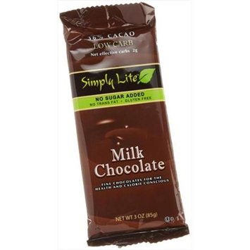 Simply Lite Low Carb Milk Chocolate 36% Cacao 3-Ounce Bars -Pack of 10