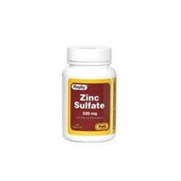 Rugby Vitamins Zinc Sulfate 220 mg, 100 Tablets, Watson Rugby