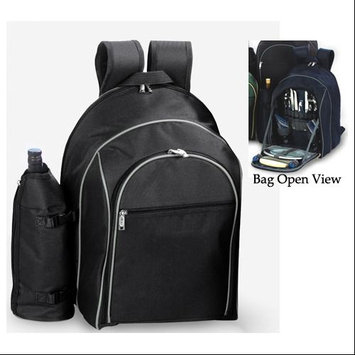 Cc Home Furnishings On-The-Go Backpack Picnic Set for 2 With Detachable Wine Carrier - BLACK