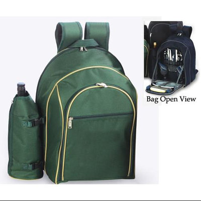 Cc Home Furnishings On-The-Go Backpack Picnic Set for 2 With Detachable Wine Carrier - Green