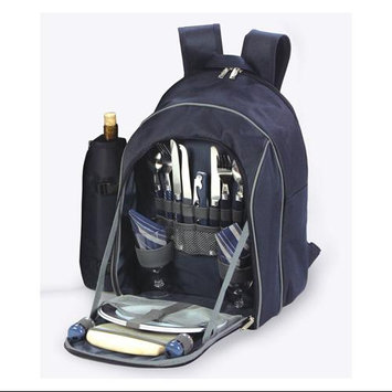 Cc Home Furnishings On-The-Go Backpack Picnic Set for 2 With Detachable Wine Carrier - Navy Blue