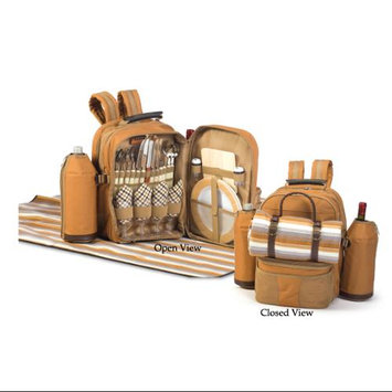 Cc Home Furnishings On-The-Go Backpack Picnic Set for 4 with Dual Detachable Wine Carriers - Brown