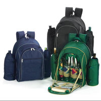 Cc Home Furnishings On-The-Go Backpack Picnic Set for 4 With Duel Detachable Wine Carriers - BLACK
