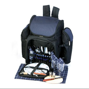 Cc Home Furnishings 31-Piece Backpack Picnic Set for 4 with Dual Detachable Wine Carriers - NAVY