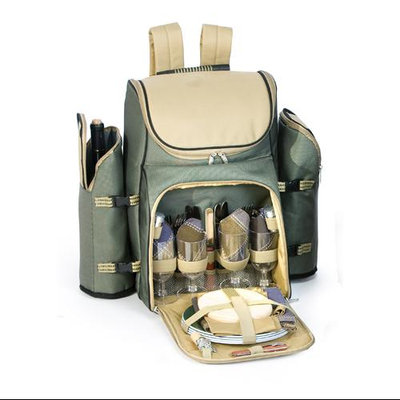 Cc Home Furnishings 31-Piece Backpack Picnic Set for 4 with Dual Detachable Wine Carriers - Sage