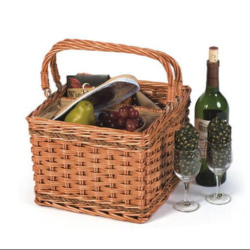 Cc Home Furnishings Insulated Hand Woven Willow Wine Picnic Basket/Cooler with Foldable Handles
