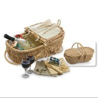 Cc Home Furnishings Natural Willow Eco-Friendly Wine & Cheese Picnic Basket Set with Accessories