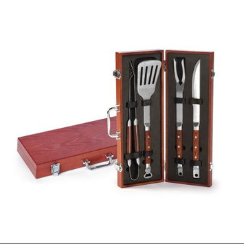 Cc Home Furnishings Superior Stainless Steel Bbq Set With Rosewood Finish Case