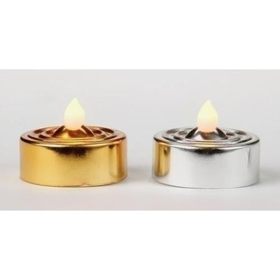 Roman Club Pack Of 48 Metallic Gold & Silver LED Tea Light Candles