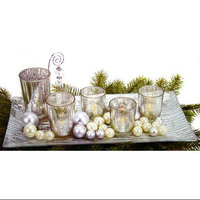 Dennis East 9-Piece Silvered Glass Christmas Votive Candle
