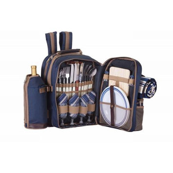 Cc Home Furnishings On-The-Go Backpack Picnic Set for 4 With Duel Detachable Wine Carriers - Navy