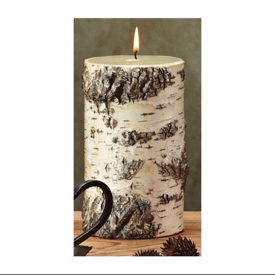 Cc Home Furnishings Pack of 4 Unique Birch Bark Mountain Scented Pillar Candles - 7