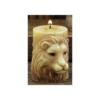 Cc Home Furnishings Pack of 6 Unscented Sculpted Lion Pillar Candles - 3