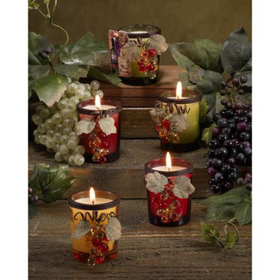 Cc Home Furnishings Club Pack of 12 Grapevine Embellished Votive Glass Scented Candles