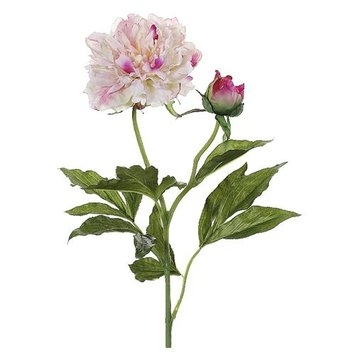 Cc Home Furnishings Club Pack of 12 Artificial Two-Tone Pink Peony Silk Flower Stems 28