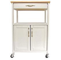 Catskill Craftsmen Kitchen Trolley White Base Natural Top