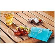 Hammered Plastics Hammered Clear Plastic Plates Combo Pack (22 Dinner Plates & 22 Snack/Dessert Plates)