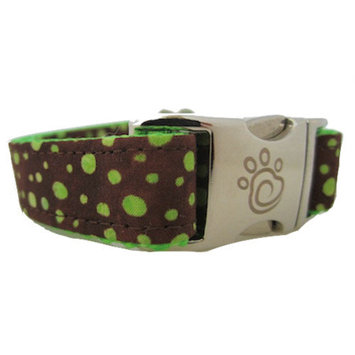 Chief Furry Officer Topanga Canyon Dog Collar Size: Medium, Color: Neon Green