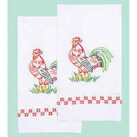 Jack Dempsey Stamped White Decorative Hand Towel 17inX28in One Pair-Rooster