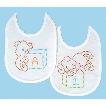 Jack Dempsey Bear And Bunny Quilted Baby Bib