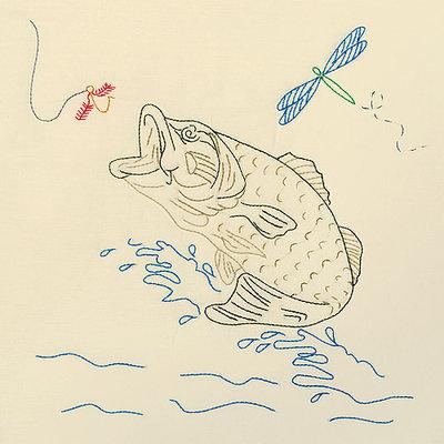 Jack Dempsey Inc. Jack Dempsey Fish Stamped Ecru Quilt Blocks, 6Pk, 18