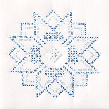 Jack Dempsey 733 54 Stamped White Quilt Blocks 9 in. x 9 in. 12-Pkg-XXX Stars