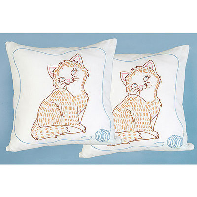 Jack Dempsey Stamped White Pillowtops 15inX15in 2/Pkg-Kitty Cat