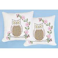 Jack Dempsey Stamped White Pillowtops 15inX15in 2/Pkg-Chicken Scratch Owls