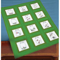 Jack Dempsey Creatures In Jars Themed Stamped White Quilt Blocks, 9