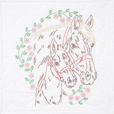 Jack Dempsey Stamped White Wall Or Lap Quilt 36inX36in-Mare & Colt
