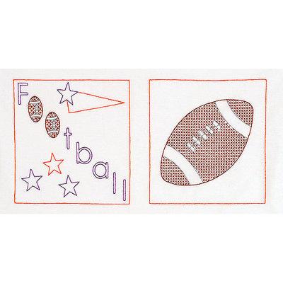 Jack Dempsey NOTM275143 - Stamped White Sport-Themed Quilt Blocks
