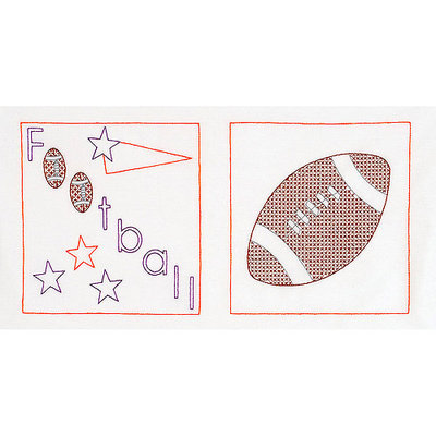 Jack Dempsey NOTM274655 - Stamped White Sport-Themed Quilt Blocks 14
